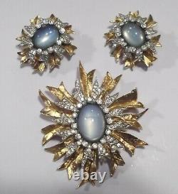 Vintage JOMAZ Blue Moonstone Rhinestone Gold Tone Sunburst Pin Brooch & Earrings