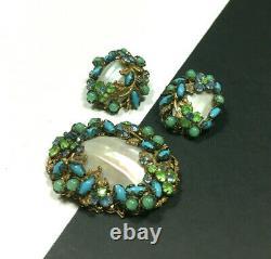 Vintage JONNE' Schrager MOP & Rhinestone Brooch & Earring SET Blue Green NN64ZZU