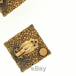 Vintage JOSEFF OF HOLLYWOOD Floral Filigree Rhinestone Earrings & Brooch Pin Set