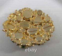 Vintage JULIANA Brooch Pin Watermelon Rivoli Margarita Orange Rhinestones Gold