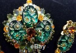Vintage JULIANA Carved Glass Flower Brooch & Earrings Set Book PieceCirca 1960