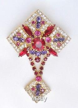 Vintage JULIANA D&E Red Purple Fuchsia Clear Rhinestone Brooch Verified RARE