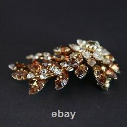 Vintage Jewel Crest Donald Simpson Brooch Cognac Madiera Crystal Rhinestones