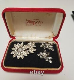Vintage Jewel Crest Donald Simpson Rhinestone Brooch & Earrings Original Box