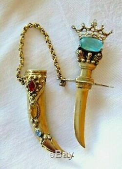 Vintage Jeweled Sword +Scabbard Sterling Silver Brooch GP Chatelaine Pin 32.9 Gm