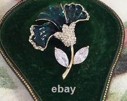 Vintage Jewellery Brooch Green Enamel Flower Antique Deco Dress Jewelry Pin