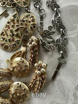 Vintage Jewelry LOT BOLD METALS MCM Rhinestone Brooches Necklaces Earrings