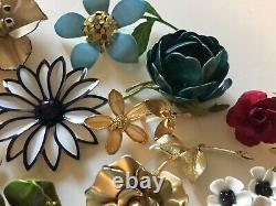 Vintage Jewelry Metal Enamel Rhinestone Gold/Silver Tone Flower Power Brooch Lot