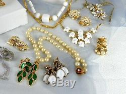 Vintage Jewelry Trifari Lot Signed Pearls Rhinestones Brooch Necklace Earrings