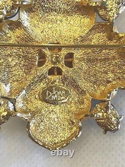 Vintage Joan Rivers Gold Tone Maltese Cross Cabochons Rhinestones Brooch Pin