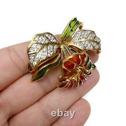 Vintage Joan Rivers Signed Plique A Jour Orchid Trumpet Flower Brooch Pin