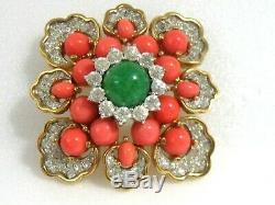 Vintage Jomaz Faux Emerald Coral Rhinestones Brooch Pin