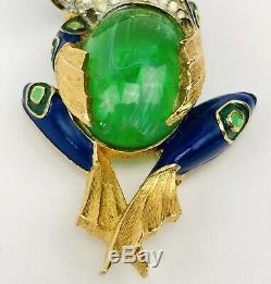 Vintage Jomaz Frog Rhinestone Jelly Belly Gold Tone Brooch Pin