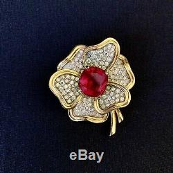 Vintage Jomaz Joseph Mazer Pink Glass Rhinestone Flower Brooch Pin