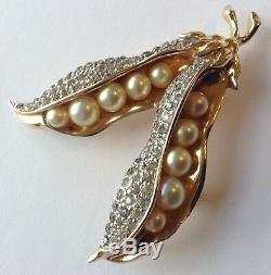 Vintage Jomaz Signed Pearl & Clear Rhinestone Double Pea Pod Brooch