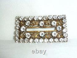 Vintage Joseff of Hollywood clear rhinestone rectangular brooch