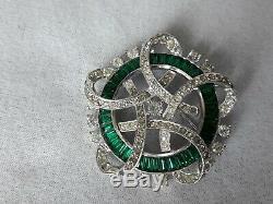 Vintage Joseph Mazer Jomaz Green Emerald Baguettes and Clear Rhinestone Brooch