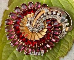 Vintage Joseph Mazer Signed Pink & Red Rhinestone Pinwheel Brooch / Pin