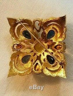 Vintage Jospeph Mazer (jomaz) Square Rhinestone Brooch, Gold Tone, Signed