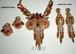 Vintage Juliana Brown Rhinestone Owl Parure Necklace Brooch Earrings