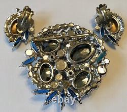 Vintage Juliana D & E Blue Heliotropes Rhinestone Brooch & Earrings