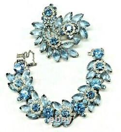 Vintage Juliana D&E Blue Rhinestone Bracelet, Brooch Set