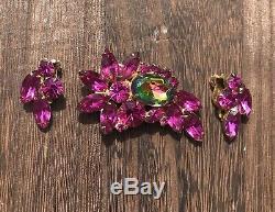 Vintage Juliana D&E Bright Pink Watermelon Rhinestone Brooch Clip On Earrings