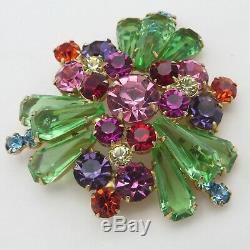 Vintage Juliana D&E Pentagon Stone Rhinestone Art Glass Domed Brooch Pin