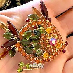 Vintage Juliana D&G Angel Fish Brooch/Pin in Fall Colored Rhinestones