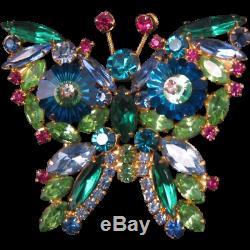 Vintage Juliana Multi Colored Margarita Rhinestone BUTTERFLY Figural Brooch Pin