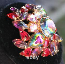 Vintage Juliana Schiaparelli Watermelon Rhinestone Necklace Brooch Pin Set