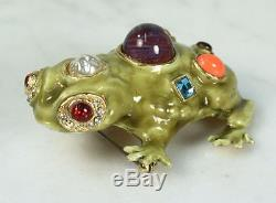 Vintage KJL Frog Brooch. Enamel with Rhinestones Faux Pearl RARE