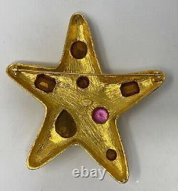 Vintage KJL Kenneth Jay Lane Pastel Rhinestone Starfish Brooch
