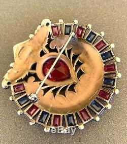 Vintage KTF Trifari Art Deco Era Jewels of India Rhinestone Fur Clip Pin Brooch