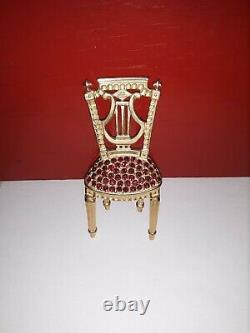 Vintage Karl Lagerfeld Gold Tone & Red Rhinestone Chair Brooch Signed Kl Rare