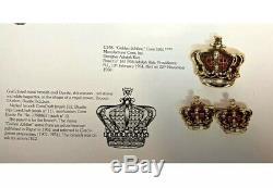 Vintage Katz CORO CRAFT Golden Jubilee Pink Rhinestone Crown Figural Brooch Pin
