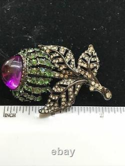 Vintage Kenneth Jay Lane Green Rhinestone & Purple Lucite Flower Brooch