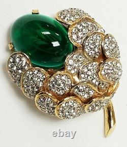 Vintage Kenneth Jay Lane KJL Green Flawed Emerald Gripoix Rhinestone Brooch