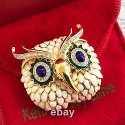 Vintage Kenneth Jay Lane KJL Owl Brooch Pin White Enamel Blue Glass Eyes