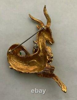 Vintage Kenneth Jay Lane c. 1960's Cabochon and Rhinestone Antelope Pin/Brooch