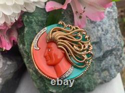 Vintage Kramer Medusa Faux Coral & Turquoise Mythology Rhinestone Brooch / Pin