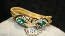 Vintage Kramer NY Goldtone + Green Necklace, Bracelet, Earrings, Brooch Set