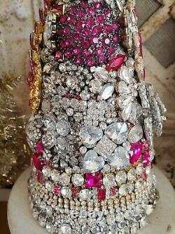 Vintage LARGE rHiNesToNe jewelry lot Christmas Tree earrings brooch trim button