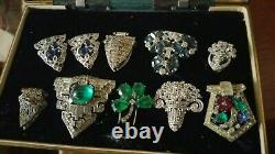 Vintage LOT OF 10 Rhodium Fur Clip Brooch Dress Art Deco Rhinestone NICE patpend