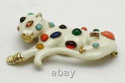 Vintage Large Jeweled KJL Cat Leopard Brooch Pin Kenneth Jay Lane