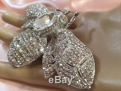 Vintage Large Runway Statement Silver Bumblebee Brooch Pin For Coat Scarf Or Hat