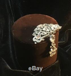 Vintage Large Sterling Eisenberg Rhinestone Dangle Fur Dress Clip Brooch 35.1g