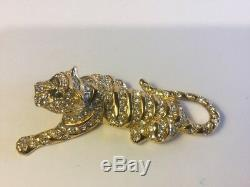 Vintage Large Trifari Tiger Brooch Pin Pave Rhinestones Gray Marquise Gold Plate