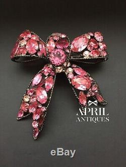 Vintage Larry VRBA Pink Rhinestones Bow Large brooch