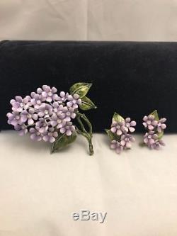 Vintage Lavender Enamel Flower Lilac Violets Brooch Earring Clip Set Rhinestones